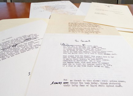 """Working drafts of """"The Consent,"""" by the late Pulitzer Prize–winning poet Howard Nemerov, can be found in Olin Library's Special Collections. (Joe Angeles)"""