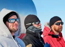 (From left) Richard Bose, Dana Braun and John E. Ward, Super-TIGER team members, lined up at the edge of Williams Field, the balloon launch area near McMurdo Station in Antarctica, waiting for team leader Bob Binns' plane to land on the nearby Ice Runway. (Ryan Murphy)