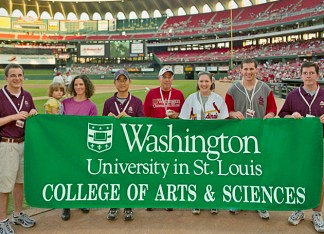 From 1994–2008, Ed Macias (near center, in red) was dean of Arts & Sciences (he was also concurrently provost from 1988–95; he maintained the duties of chief academic officer as the executive vice chancellor from 1995–2008). (WUSTL Archives)