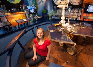 Kim Lichtenberg, MA '06, PhD '10, is a mission systems engineer at JPL who conducts extensive research on the composition of Martian soils by using spectroscopy as a remote sensing technique to obtain information about the surface. (Rob Brown)