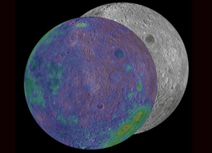 The base image shown is from the Lunar Reconnaissance Orbiter's Wide Angle Camera, for which Professor Jolliff is a member of the science team. The data for the thorium overlay comes from the work of David Lawrence, PhD '96 (physics). (See sidebar below for complete image credit.)