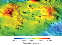In this perspective view looking to the northeast, the terrain appears clearly as a volcanic complex including a central region that may be an irregularly shaped collapsed caldera or series of vents. It is unlike volcanic terrain seen elsewhere on the Moon. (NASA/GSFC/ASU/WUSTL, digital terrain model developed by F. Scholten, DLR)