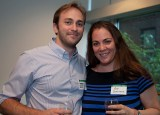 Networking events, like the one held in New York in June, help alumni living outside St. Louis — like Jeffrey Lancaster, AB '05, BFA '05, and Amy Schnitzer, AB '98 — remain active members of the Washington University community. (Jennifer Weisbord, BFA '92)