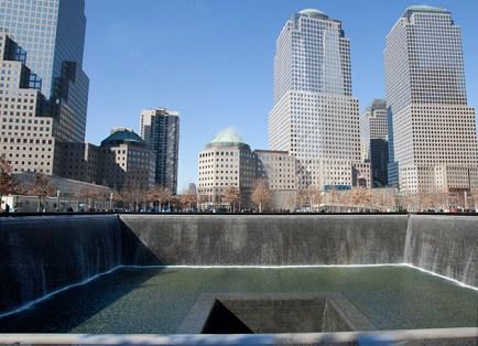 The September 11 Memorial honors the nearly 3,000 men, women and children killed in the terrorist attacks of Sept. 11, 2001, and Feb. 26, 1993. (Jennifer Weisbord, BFA '92)