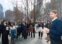 Alumnus Ryan Pawling, AB '02, who is the manager of public programs, partnerships and outreach for the September 11 Memorial, also spoke to the McDonnell International Scholars during their visit. (Joe Angeles)