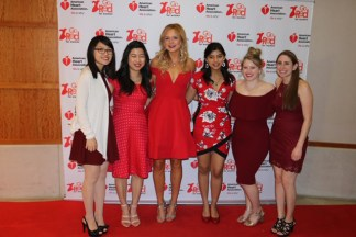(From left): Jennifer Sun, June Kim, Grace Keane, Avira Som, Haley Lower and Abby Finkle, members of the American Medical Women's Association at Washington University and Saint Louis University, helped organize the Red Dress Affair Jan. 12 on the Medical Campus. The event raised a record $12,000 to fight heart disease in women through the American Heart Association. (Courtesy photo)