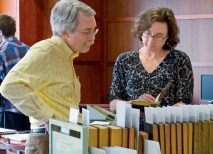 David Konig (left), PhD, Washington University professor of history in Arts & Sciences and of law, confers with Ann Lucas Birle, a Monticello research historian. (Editor's correction: Historian Birle was identified as Erin Davis, curator of rare books, in the print edition. The editor apologizes for the error.) (Courtesy Photo)