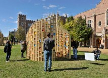 """Storycubes, a winning entry by Act3 (Ben Kaplan), Trivers Architecture, and St. Louis Beacon (St. Louis). """"This Sukkah, then, is meant to represent those intertwined themes: transitions, and the journey."""" (Stan Strembicki)"""