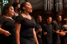 """Members of the Normandy High School Chorale perform during the """"Four Hundred Years Forward – Freedom in Our Time"""" lecture on Nov. 10 in Graham Chapel. (Photo: Michael Thomas/Washington University)"""