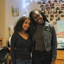 "Faronbi (left), with roommate Belai, says she likes the atmosphere of the South 40. ""I like how we have our own little village here with the twinkling lights and outdoor seating outside the Bear's Den. There's a great sense of community."""