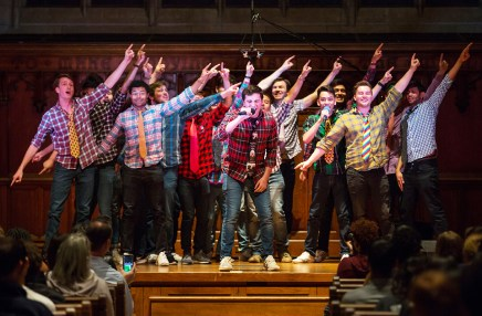 "Bruton loves the campus a cappella scene for the same reason she enjoys Bears sports -- the community. ""A cappella group is really a team too. Everyone cares so much about the group's success. It makes me feel like I'm also part of the community."" Here, Bruton captures the Pikers, the university's oldest a cappella act."