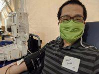 Lew donates blood