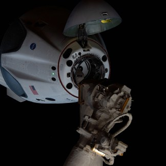 The SpaceX Crew Dragon approaches the International Space Station. (Courtesy of NASA)
