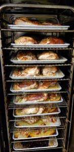 Students who stayed on campus for Thanksgiving 2020 did not go hungry. Bon Appetit roasted 350 turkey breasts and prepared 250 pounds of green beans, 200 pounds of Brussels sprouts, 250 pounds of mashed potatoes and 250 pounds of cornbread stuffing. Chefs also baked 800 dinner rolls and 1,800 mini desserts. (Photo courtesy of Bon Appetit)