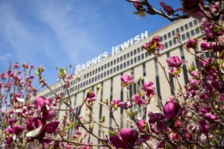 Barnes-Jewish Hospital with flowers