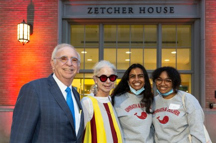 Arnold and Ellen Zetcher visit with WashU students and staff during the Zetcher House dedication event Sept. 30 on the South 40. Read about their gift. (Photo: Jerry Naunheim Jr./Washington University)