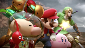 Mario, Link, Samus, Kirby, and Captain Olimar are about to fight Charizard