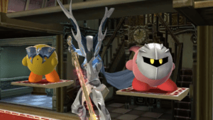 Corrin, Lucina-Kirby, and Meta Knight-Kirby in Super Smash Bros. for Wii U