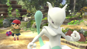 Ness and a shiny Mewtwo in Super Smash Bros. for Wii U