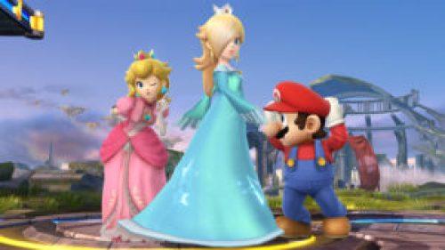 Mario, Rosaiina and Peach in Super Smash Bros. for Wii U