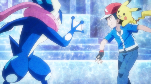 Ash and Greninja in Pokemon XY