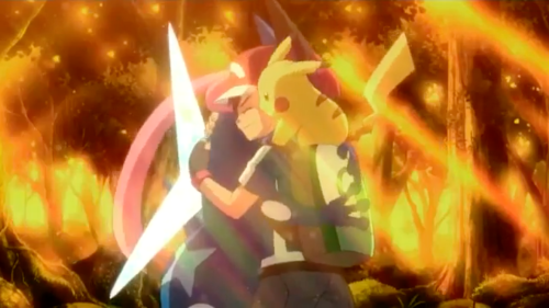 Ash and Ash-Greninja about to separate in Pokemon XY