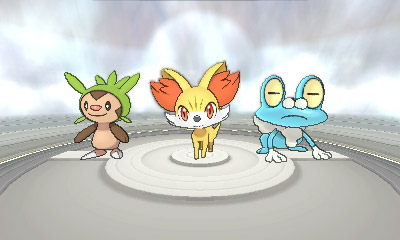 Chespin, Fennekin, and Froakie in Pokemon X and Y