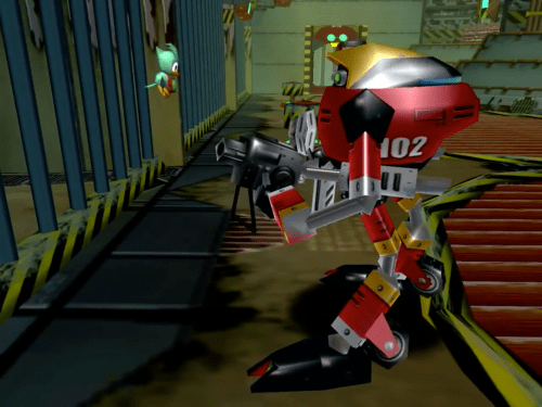 E-102 Gamma and a Flicky in Sonic Adventure
