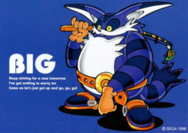 Our first look at Big the Cat. It was clear the fisherman was appending some diversity to Sonic's cast. (Image: SEGA)