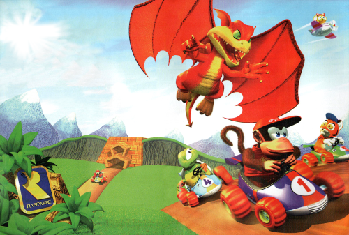 Diddy Kong, Tiptup, Timber, Bumper and Smokey in Diddy Kong Racing