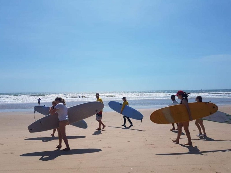 group of students in surf lesson in mui ne