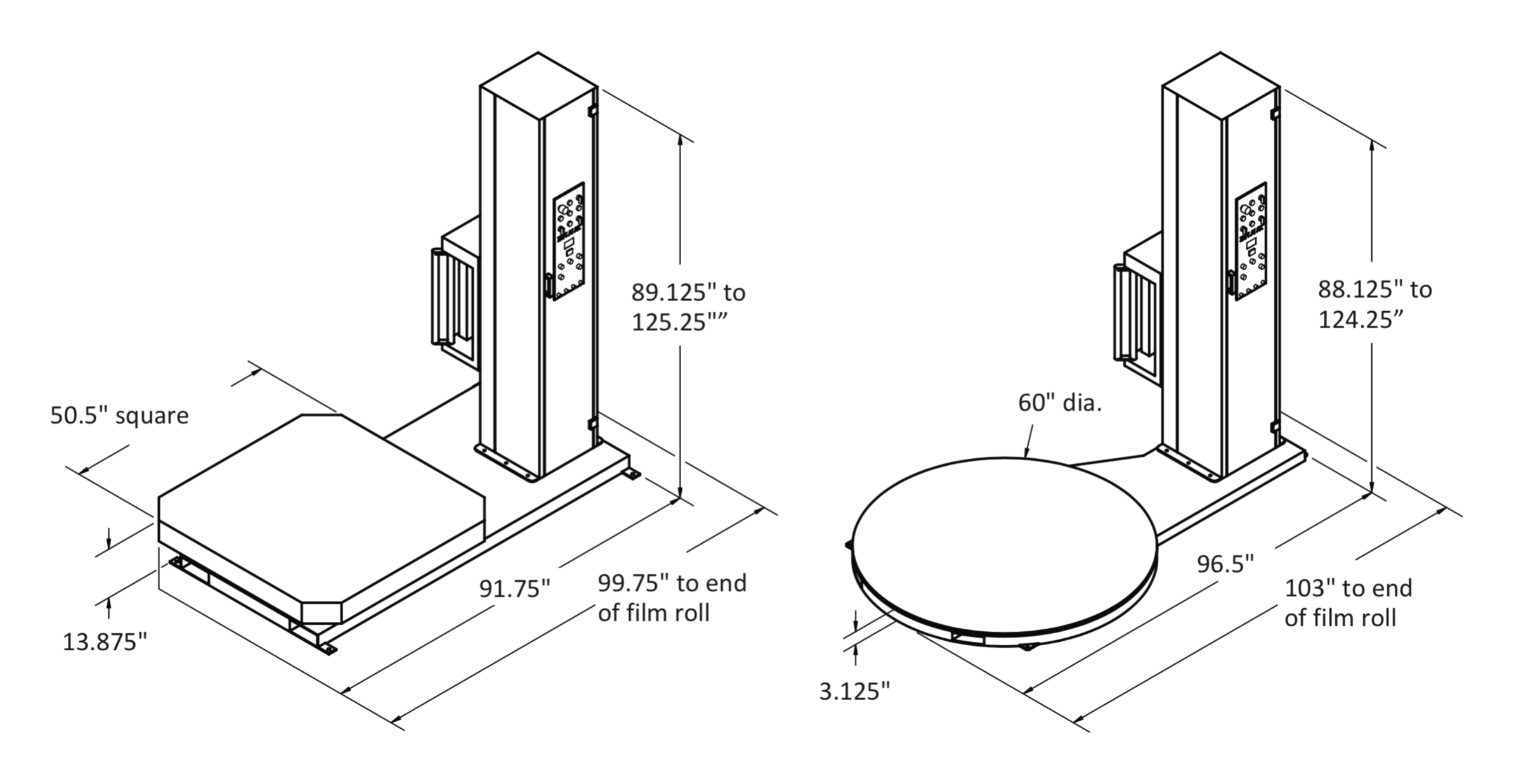 Semi-Automatic Stretch Wrapper with Scale (Low Profile