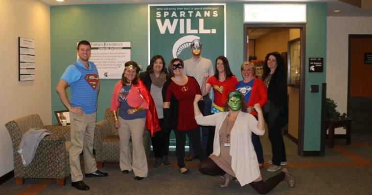 HR Staff in Super Hero Halloween Costumes