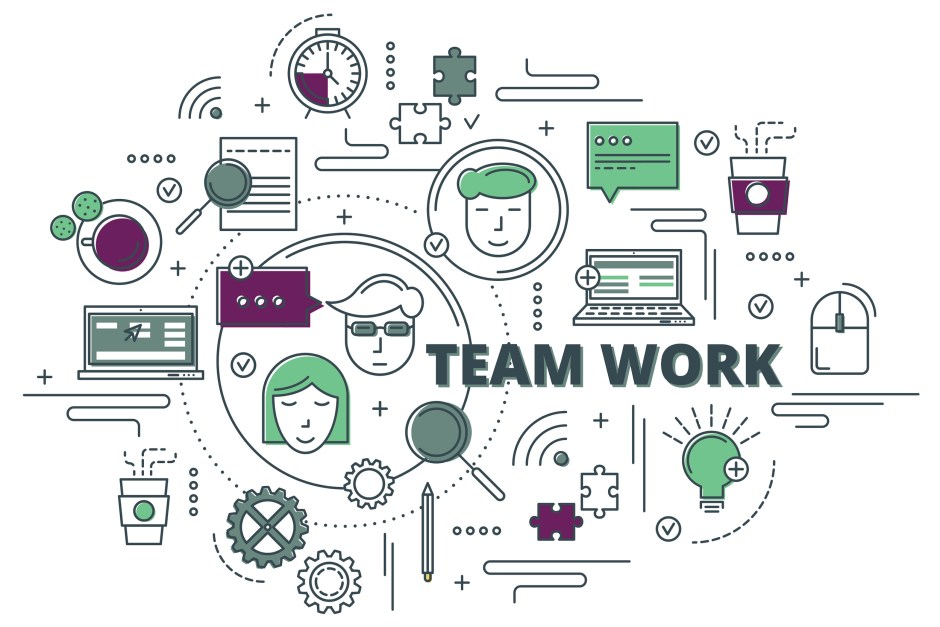graphic with different elements that represent teamwork