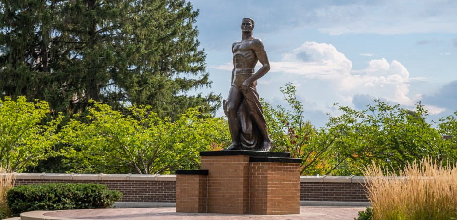 sparty statue in summer