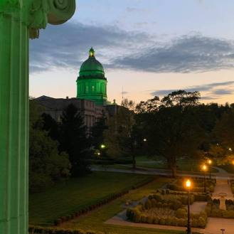 View from the Kentucky Governor's Mansion lit green for solidarity. Source: Governer Andy Beshear's Facebook page