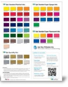 Polyone wilflex epic standard plastisol inks color card also nazdar rh sourceonezdar