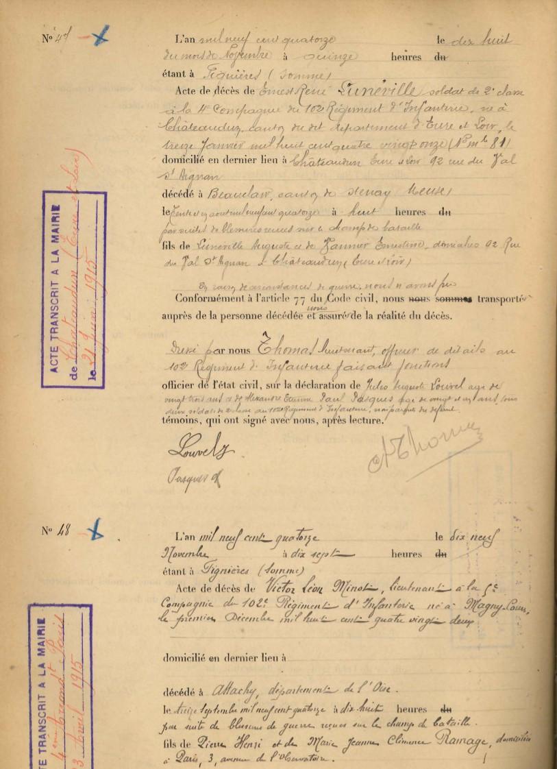 L'état civil des régiments