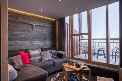 Appartement alpin (Les Arcs 1800) - Coin montagne avec vue - Appartement Les Arcs Vue Mont-Blanc - Thomas Ouf - Source Studio - Architecte d'intérieur à Aix-les-Bains en Savoie
