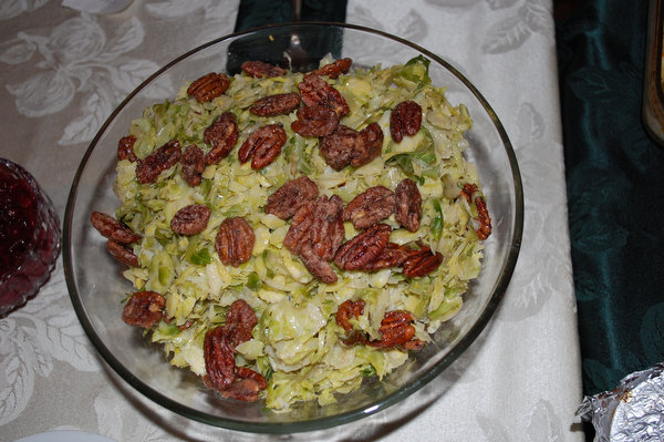 Brussels Sprouts Slaw with Maple Pecans and Mustard Dressing
