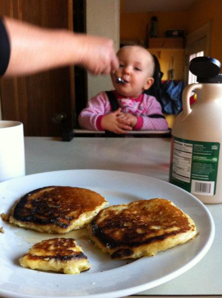 Feeding baby pancakes