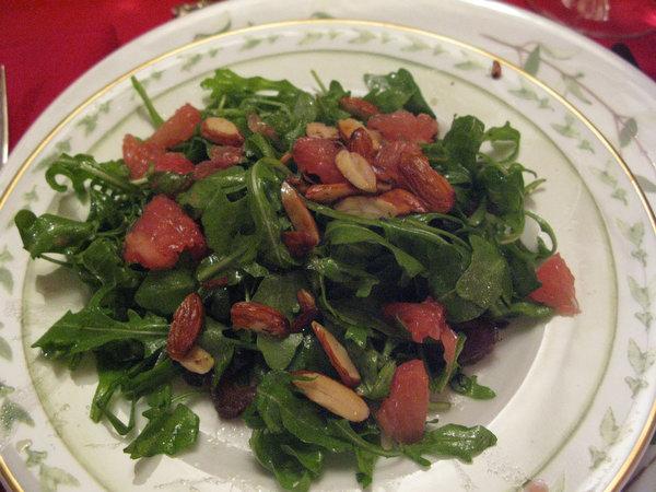 Arugula Salad with Dates, Almonds and Grapefruit and Meyer Lemon Vinaigrette