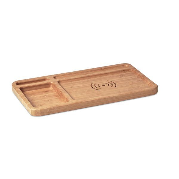 Desk storage desk box in bamboo with wireless charger