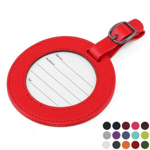 colored leather luggage tags