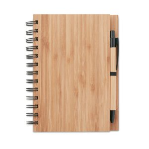 Branded Bamboo Cover Notebook with Bamboo Pen