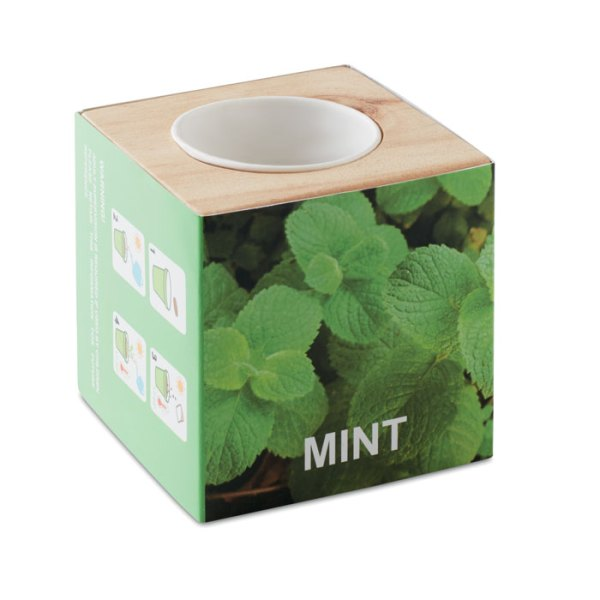 Herb Pot in Wooden Case Branded with Logo