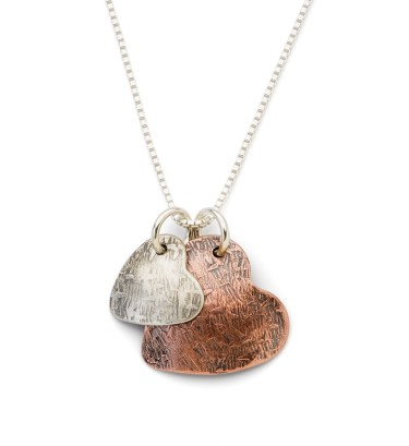 Two Hearts Mixed Metal Necklace