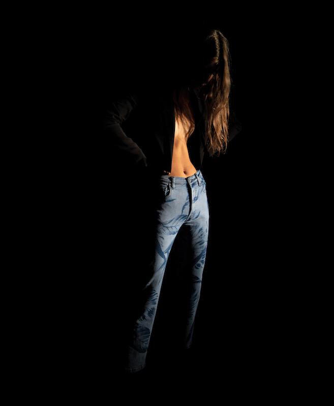 Laser print jeans