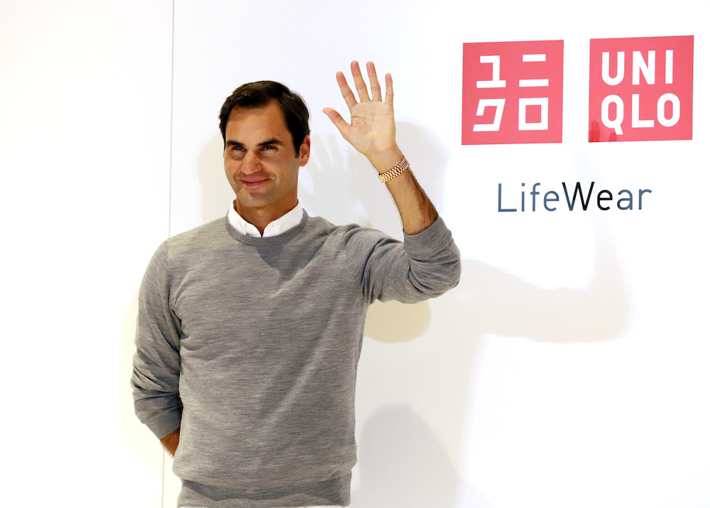 Roger Federer in Uniqlo.