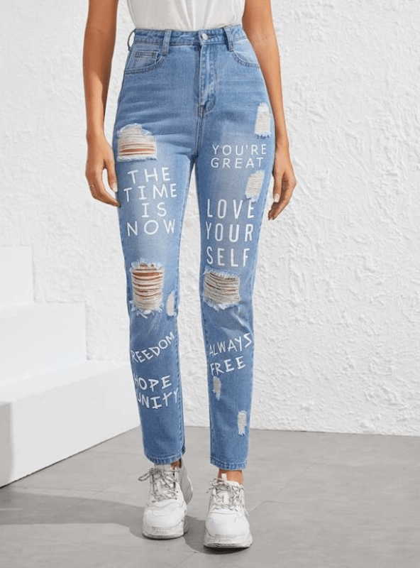 Make Blue Monday less sad (but more blue) with quirky denim featuring inspirational quotes, positive messages and bright colors.